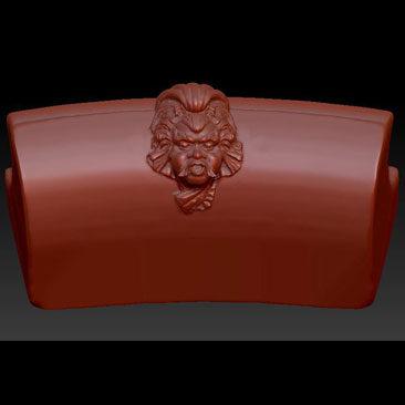 Sculpture en fichier 3D créée à partir du logiciel de sculpture sur la margelle représentée en image de synthèse.