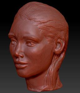 sculpture en image de synthèse créée sur logiciel